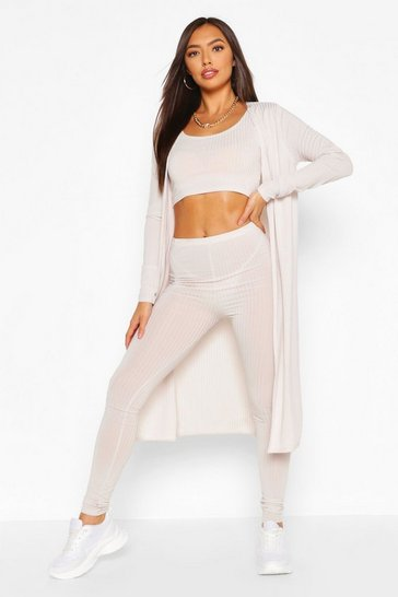 Ecru white Ribbed Crop TopLegging&Duster Co-ord Set