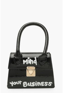 Minibolso con eslogan Mind Your Business, Negro