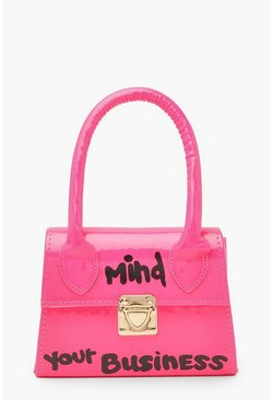 Neonroze pink Mind Your Business Mini Tasje Met Tekst