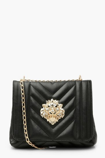 Black Quilted Lion Detail Cross Body Bag