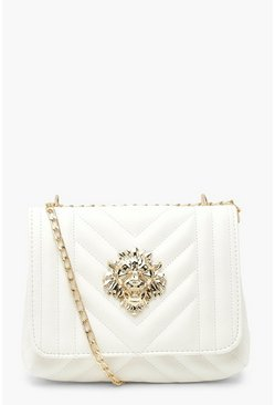 Ivory white Quilted Lion Detail Cross Body Bag