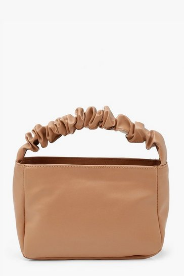Camel Ruched Handle Grab Bag