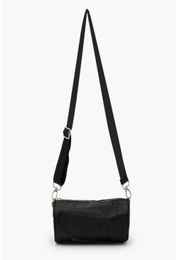 Black Nylon Mini Tube Cross Body Bag