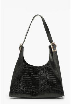 Black Croc Pyramid Shape Tote Bag