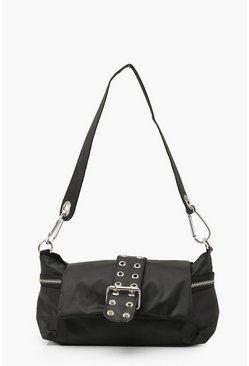 Black Nylon Buckle Detail Under Arm Bag