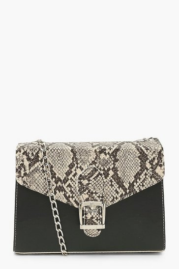 Natural beige Snake And Pu Buckle Cross Body Bag