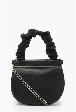 Black Ruched Handle Saddle Bag With Chain