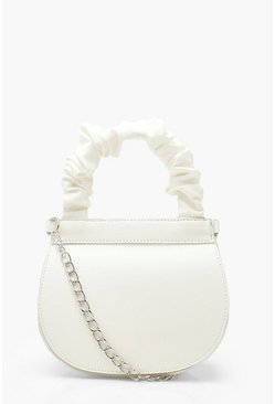 White Ruched Handle Saddle Bag With Chain