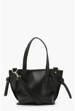 Black Smooth PU Mini Tote With Strap