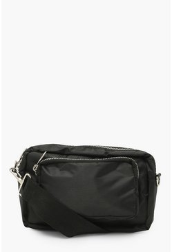 Black Nylon Zip Detail Cross Body Bag
