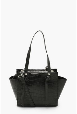 Black Croc Mini Tote Cross Body Bag