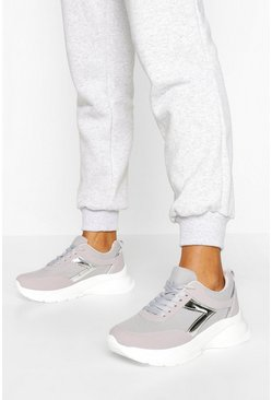 Metallic Panel Chunky Trainers, Grey