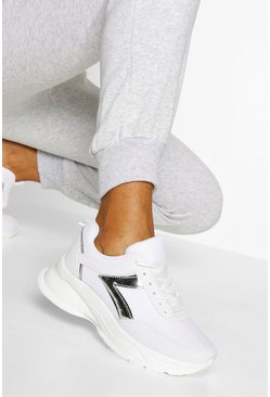White Metallic Panel Chunky Trainers