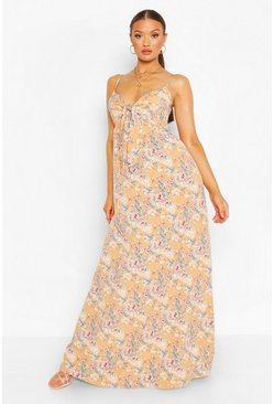 Peach orange Tie Front Strappy Maxi Dress