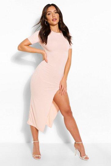 Blush pink Jumbo Rib Split Side Midi Dress
