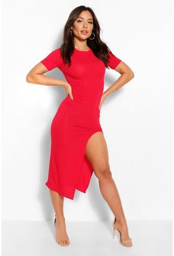 Jumbo Rib Split Side Mini Dress, Red rosso