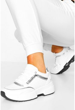 White Contrast Piping Chunky Trainers