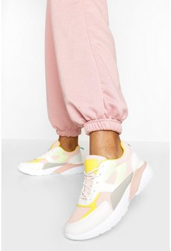 Pink Colourblock Chunky Sole Trainers