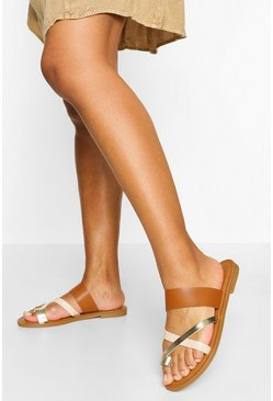 Tan brown Multi Strap Toe Post Slider