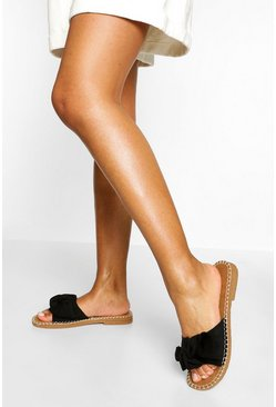 Black Bow Front Espadrille Slider