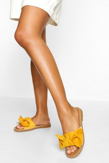 Mustard yellow Bow Front Espadrille Slider