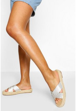 Diamante Cross Strap Espadrille Slider, Nude color carne