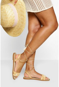 Shell Detail Wrap Strap Sandal , Nude color carne