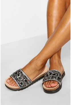 Black Embellished Footbed Slider