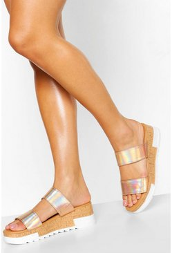 Rose gold metallic Double Strap Flatform Mule