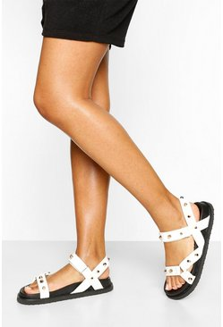 White Stud Detail Footbed Slider