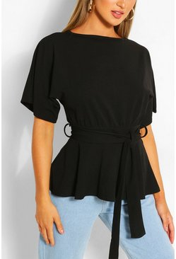 Black Crepe Short Sleeve Belted Top