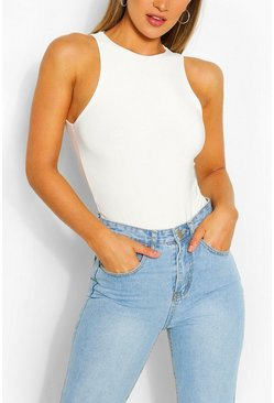 Ivory white Double Layer Bodysuit