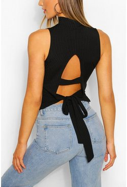 Black Ribbed High Neck Tie Back Top