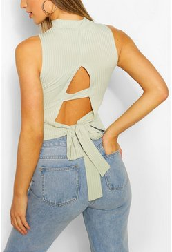 Sage green Ribbed High Neck Tie Back Top