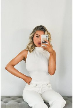 White Ribbed High Neck Tie Back Top