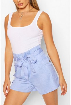 Baby blue High Waist Pocket Detail Paperbag Shorts