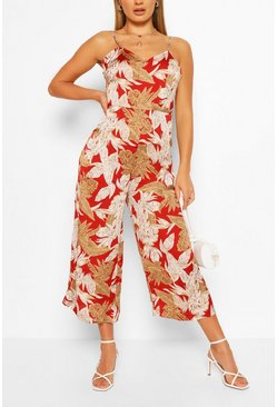 Tropical Floral Print Strappy Culotte Jumpsuit, Red