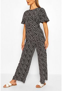 Black Daisy Print Short Sleeve Jumpsuit