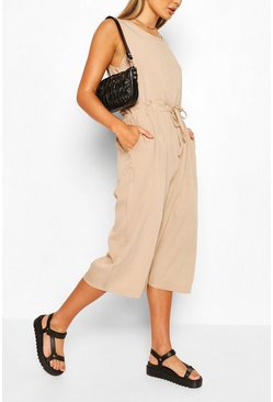 Camel Slouchy Drawstring Waist Culotte Jumpsuit