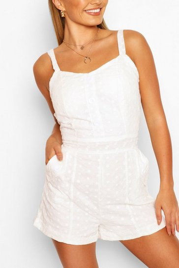 White Broderie Anglaise Strappy Playsuit