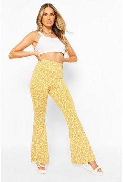 Mustard yellow Ditsy Floral Flared Trouser