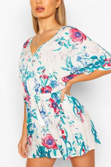 Ivory white Floral Print Plunge Kimono Sleeve Belted Playsuit