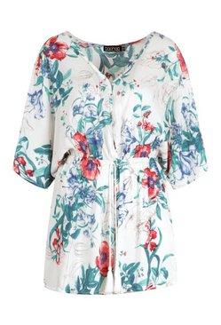Ivory Floral Print Plunge Kimono Sleeve Belted Playsuit