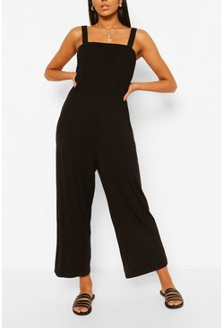 Black Square Neck Strappy Wide Leg Casual Jumpsuit