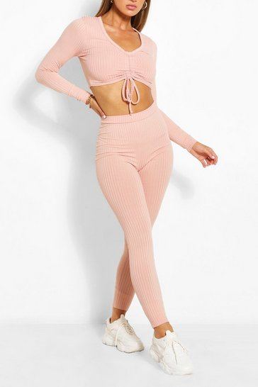 Rose JUMBO RIB RUCHED TOP AND LEGGING SET