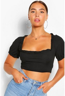 Black Ruffle square neck cap sleeve cropt top