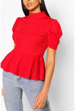 Red Crepe Dip Hem Peplum Top
