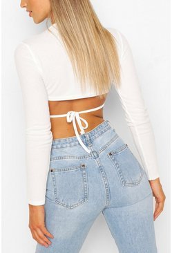 Ribbed Open Back Crop Top, White