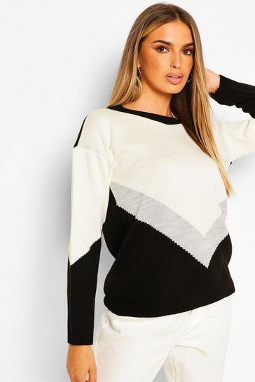 Black Colourblock Jumper