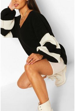 Black Stripe Sleeve V Neck Jumper